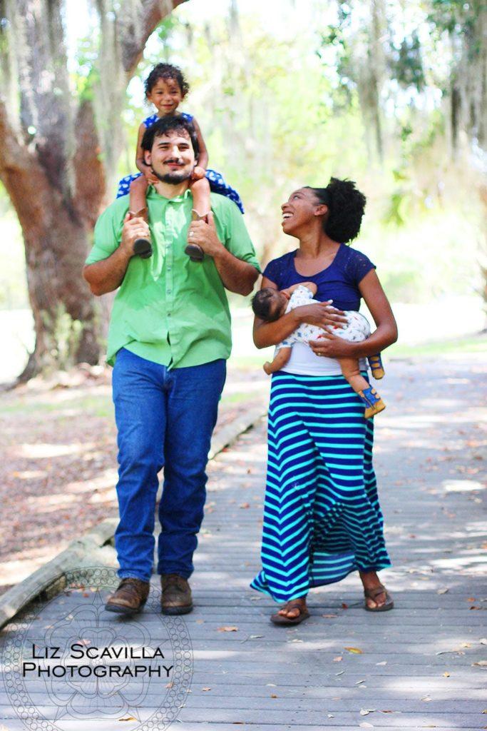 Clark Family Walking Through the Trees
