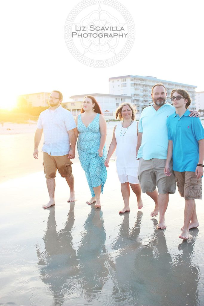 Family Walking the Beach