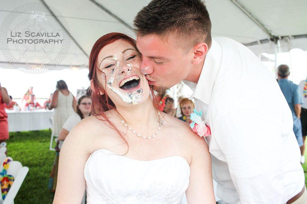 Kissing After Wedding Cake