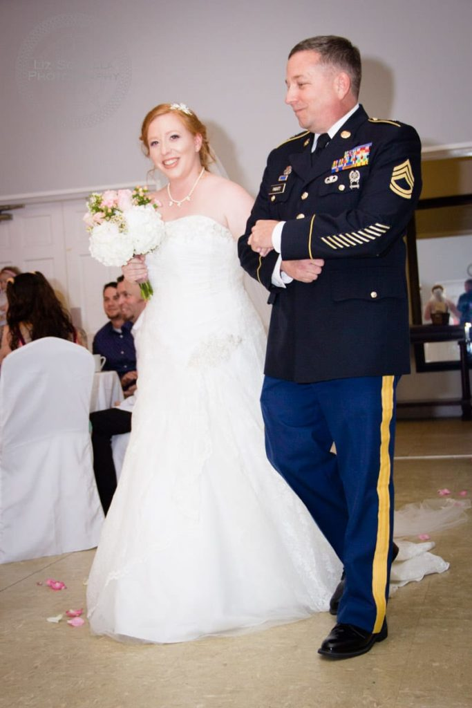 Father In Dress Blues Walking Daughter Down the Aisle