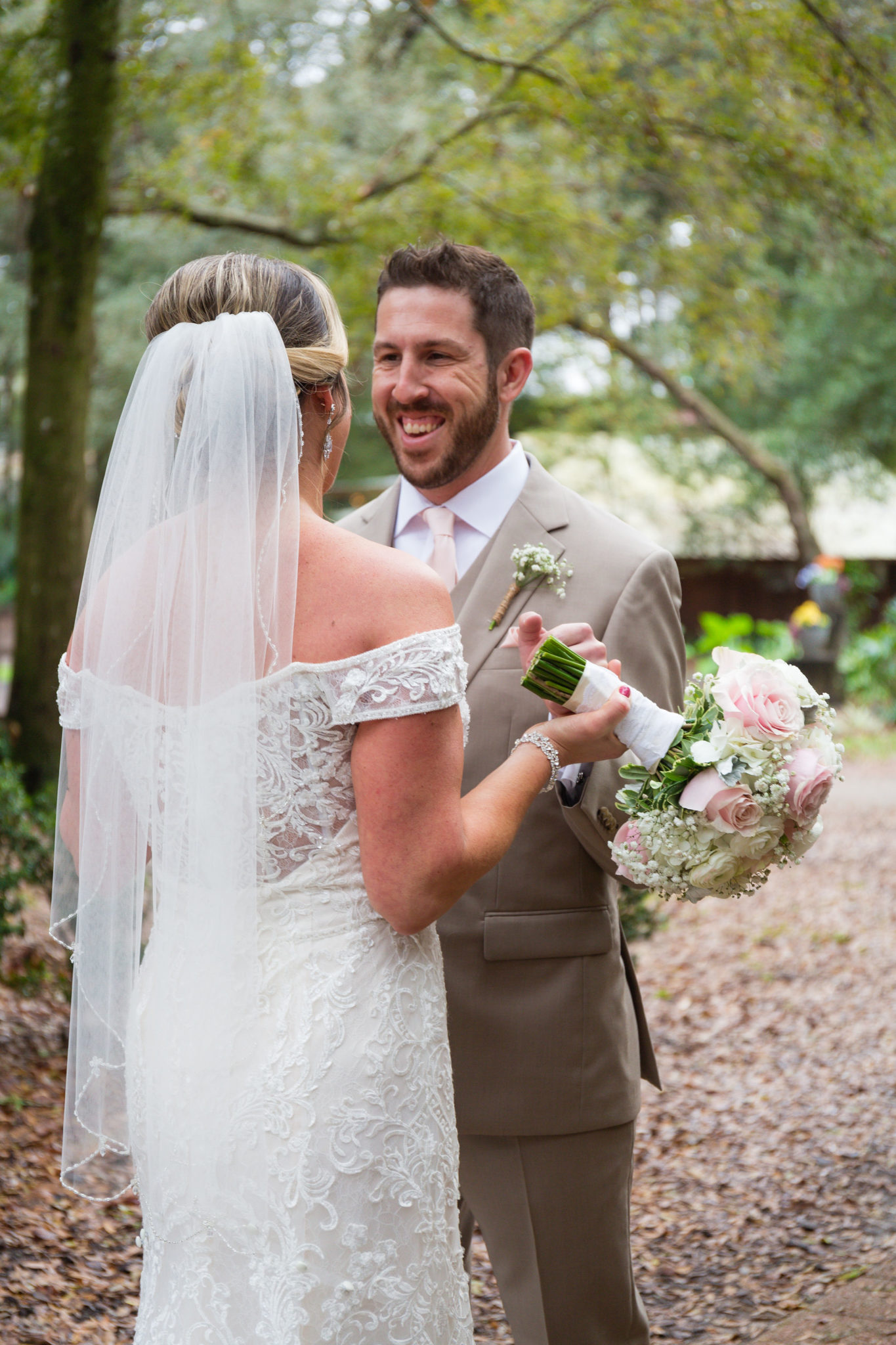 Look at that smile on the groom's face at their first look!