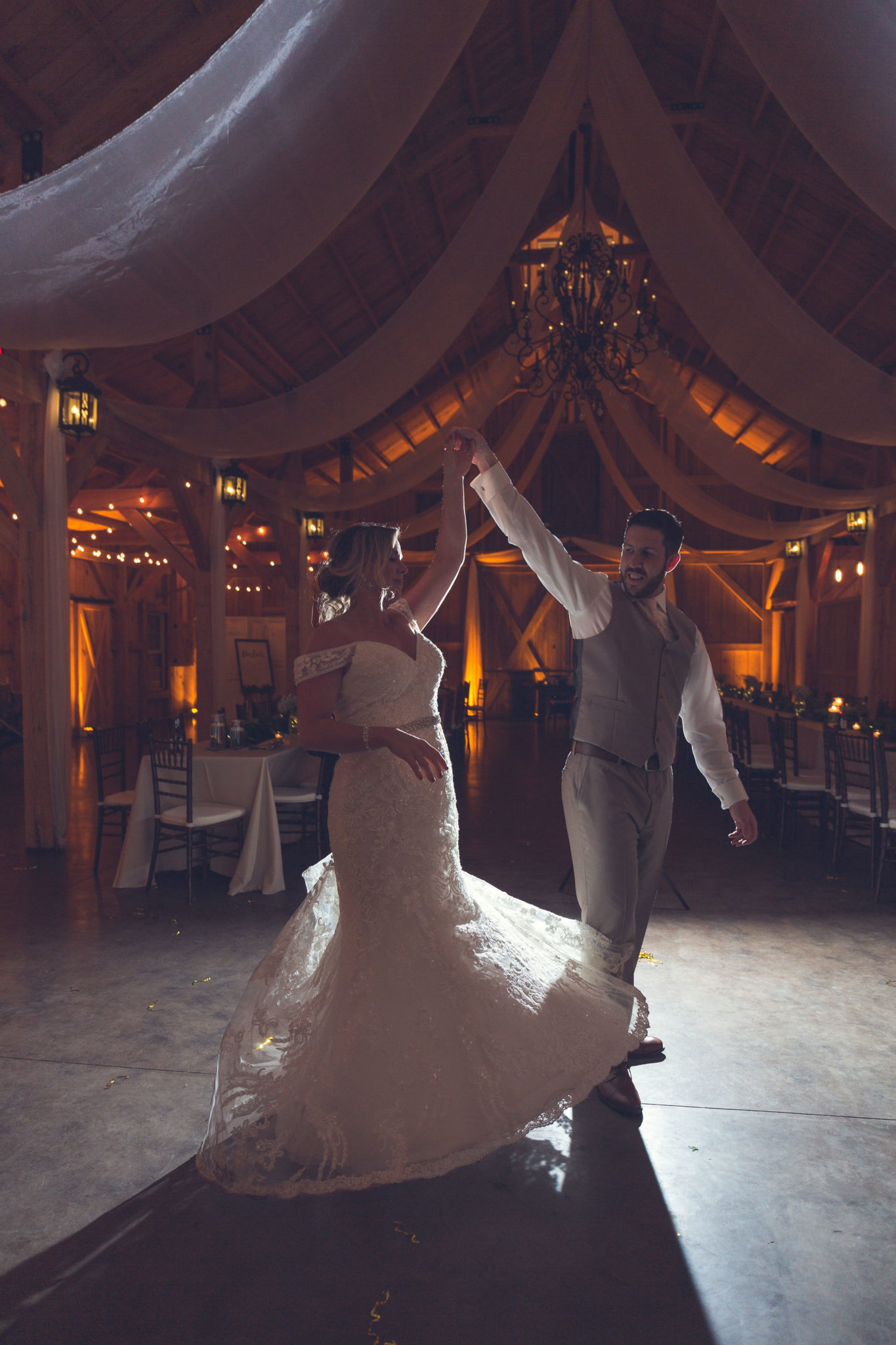 One last spin on the dance floor for the bride and groom's last dance.